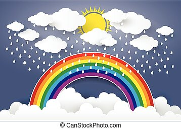 Cloud in Blue sky with Rain and Rainbow Paper art Style.vector Illusatration