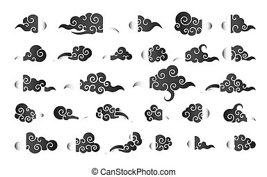 Cloud in Chinese style. Abstract black cloudy set isolated on white background. Vector illustration
