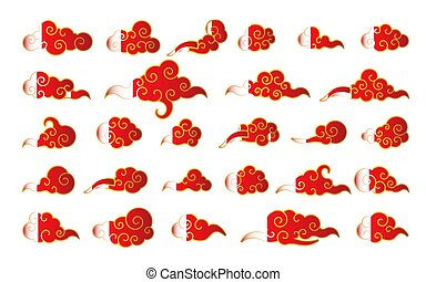 Cloud in Chinese style. Abstract red and gold cloudy set isolated on white background. Vector illustration