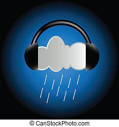 Cloud in headphones