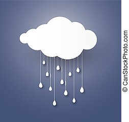 Cloud in the Blue sky with rain paper art stlye. vector illustration