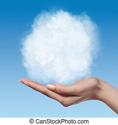 Cloud in woman hands on blue sky