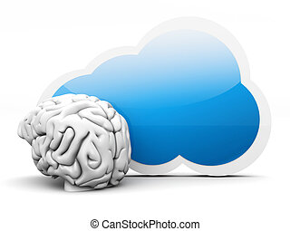 Cloud intelligence - Intelligence of cloud computing. 3D...
