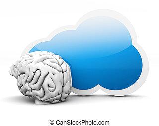 Cloud intelligence - Intelligence of cloud computing. 3D ...
