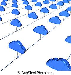 Cloud internet service 3D concept image.