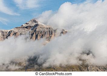 cloud inversion around Piz Boe peak in Dolomites