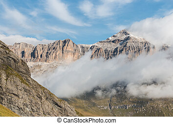 cloud inversion at Sella Group mountain range in Dolomites