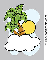 Cloud Island - Vector Cartoon