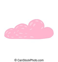 Cloud isolated on white background. Cartoon cute cloud pink color in doodle.