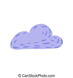 Cloud isolated on white background. Cartoon cute cloud purple color in doodle.