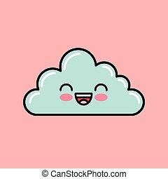 cloud kawaii icon design