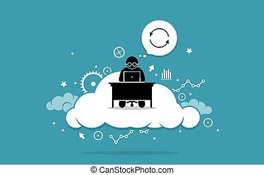 cloud., komputer, pracujący, człowiek