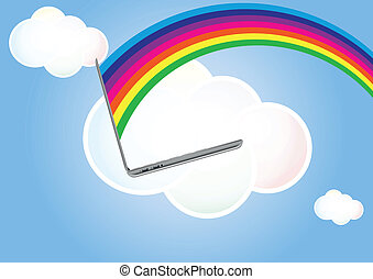 cloud laptop rainbow