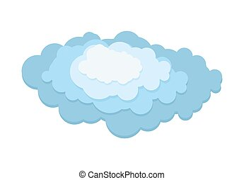 Cloud layer. 3D Blue cloud on a white background. Vector illustration.