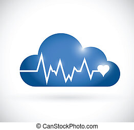 cloud lifeline illustration design over a white background