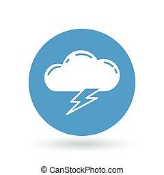 Cloud lightning bolt icon. Cloud lightning strike sign. Electric storm symbol. Vector illustration.