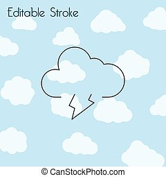 Cloud, lightning line icon, outline vector sign, linear style pictogram isolated on white. Symbol, logo illustration.