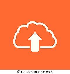 Cloud line icon. Internet download symbol. Flat vector illustration on orange background.