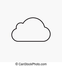 Cloud. Line Icon Vector. Sign isolated on white background. Flat design style