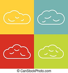 Cloud line icons on color background