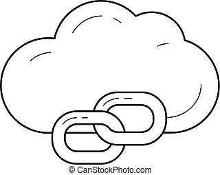 Cloud link line icon.