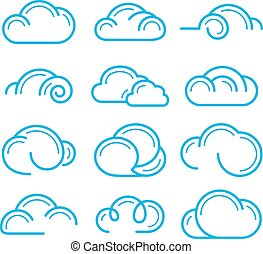 Cloud logo symbol sign icon set vector design elements
