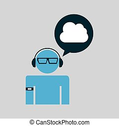 cloud man technology wearable vector illustration eps 10