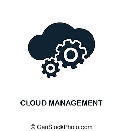 Cloud Management icon. Monochrome style design from big data icon collection. UI. Pixel perfect simple pictogram cloud management icon. Web design, apps, software, print usage.