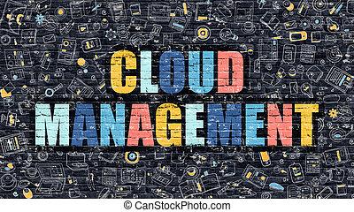 Cloud Management in Multicolor. Doodle Design.