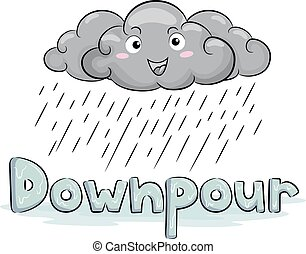 Cloud Mascot Rain Downpour Illustration
