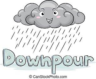 Cloud Mascot Rain Downpour Illustration - Illustration of a...