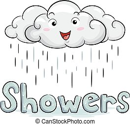 Cloud Mascot Showers Illustration - Illustration of a White...