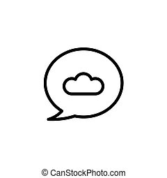 Cloud message backup, vector icon in line, outline flat style