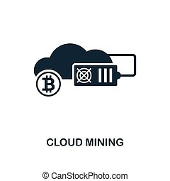 Cloud Mining icon. Monochrome style design from crypto currency icon collection. UI. Pixel perfect simple pictogram cloud mining icon. Web design, apps, software, print usage.