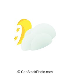 Cloud, moon and stars icon, isometric 3d style
