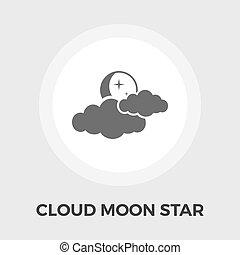 Cloud, moon, star Vector Flat Icon