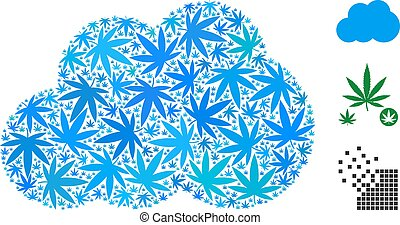 Cloud Mosaic of Hemp Leaves
