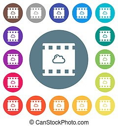 Cloud movie flat white icons on round color backgrounds