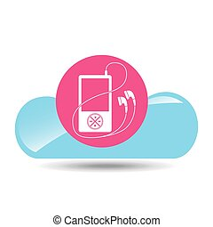 cloud music concept mp3 pink background