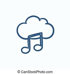 Cloud music sketch icon.