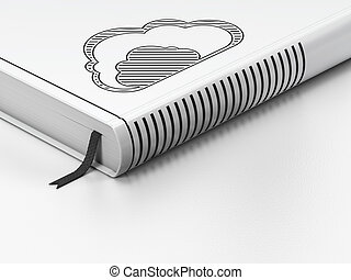 Cloud networking concept: closed book with Black Cloud icon on floor, white background, 3d render