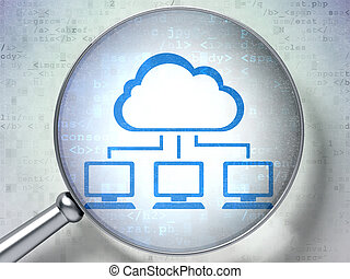 Cloud networking concept: Cloud Network with optical glass on digital background