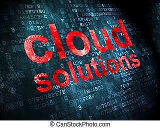 Cloud networking concept: Cloud Solutions on digital background