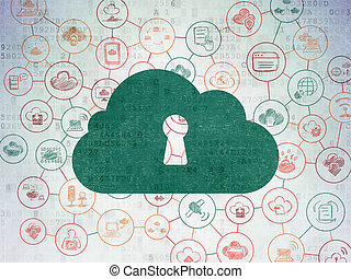 Cloud networking concept: Cloud With Keyhole on Digital Data Paper background