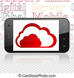 Cloud networking concept: Smartphone with Cloud on display