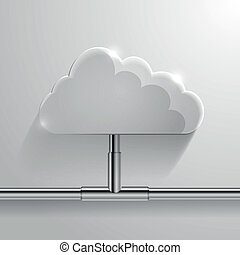 cloud networking - detailed illustration of a glossy cloud...