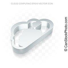 Cloud networking icon: Flat metallic 3d Cloud, transparent shadow, EPS 10 vector.