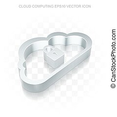 Cloud networking icon: Flat metallic 3d Cloud, transparent shadow, EPS 10 vector.