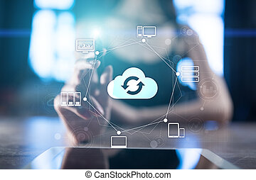 Cloud networking, Internet and modern technology concept on virtual screen.