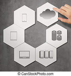 cloud networking on hexagon icon tile